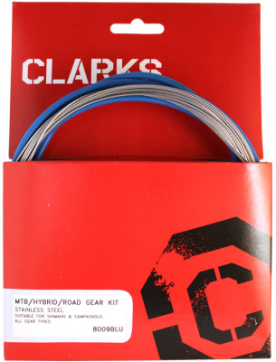 Clarks S/S Universal Front & Rear Gear Cable Kit Blue