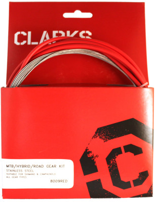 Clarks Universal S/S Front & Rear Gear Cable Kit W/Sp4 Red Outer Casing
