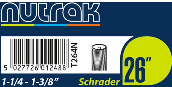 Nutrak 26 x 1-1/4 - 1-3/8 inch Schrader inner tube
