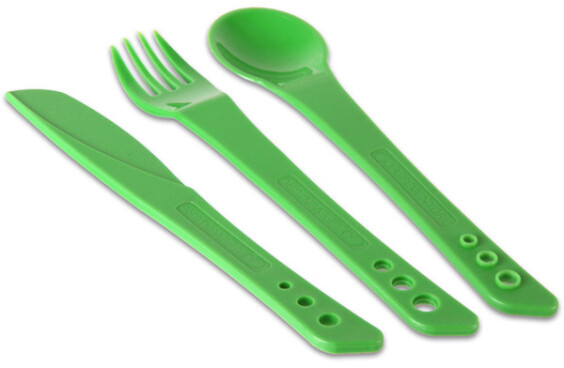 Lifeventure Ellipse Knife, Fork & Spoon Set - Green