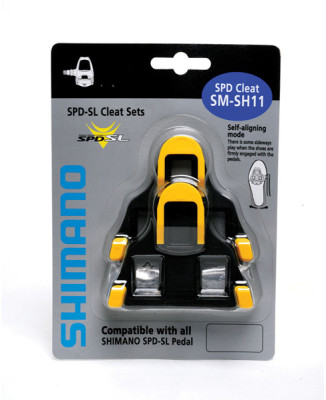Shimano SM-SH11 SPD SL-cleats, centre pivot floating, yellow